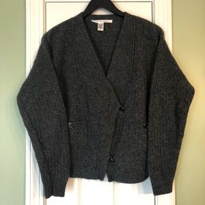VTG Diane Von Furstenberg Ribbed Wool Wrap Sweater